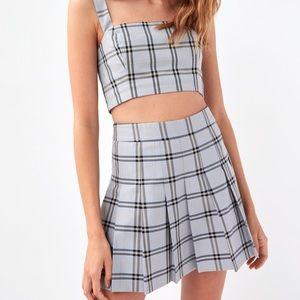 Sunday Best Olive Skirt Pearl Grey Plaid 6 NWT